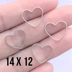 Small Heart Deco Frame for UV Resin Filling | Heart Open Back Frame | Wedding Jewellery Supplies (4 pcs / Silver / 14mm x 12mm)