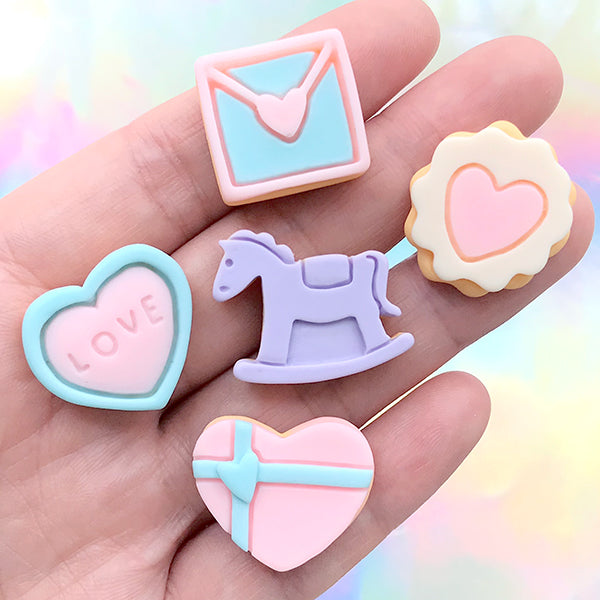 Assorted Sugar Cookie Cabochon in Pastel Colors | Miniature Sweets Deco | Doll Food Supplies | Decoden DIY (5 pcs)