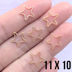 Small Star Deco Frame for UV Resin Filling | Star Open Frame | Kawaii Jewelry Supplies (6 pcs / Gold / 11mm x 10mm)