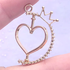 Turnable Heart Open Backed Bezel Charm with Crown | Rotating Deco Frame | Kawaii UV Resin Jewellery DIY (1 piece / Gold / 24mm x 33mm)