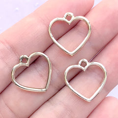 Small Heart Open Bezel Charm for UV Resin Filling | Hollow Heart Deco Frame | Kawaii Resin Jewellery DIY (3 pcs / Gold / 17mm x 17mm)