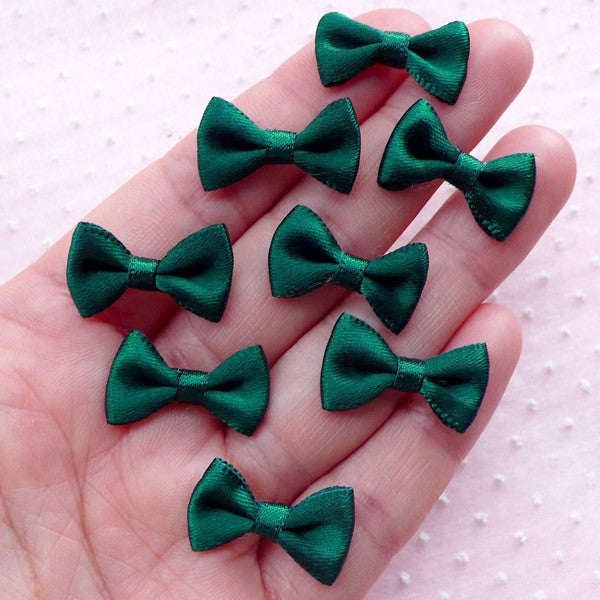 Little Fabric Ribbon Bows / Small Satin Bow Ties (8pcs / 20mm x 12mm / Cal Poly Green) Hairpin Making Etsy Products Packaging Supplies B024