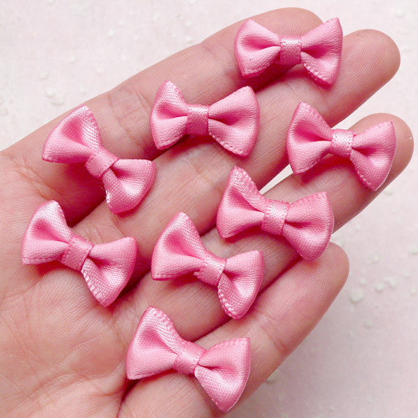 Satin Bow / Mini Fabric Ribbon Bows (8pcs / 20mm x 12mm / Peach Pink) Hair Accessory Jewellery DIY Wedding Party Decoration Packaging Sewing B135