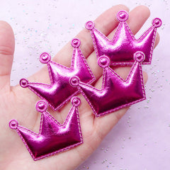 Cute Puffy Crown Appliques | Kawaii Hair Bow Making | Sewing Supply (Dark Pink / 4 pcs / 53mm x 38mm)