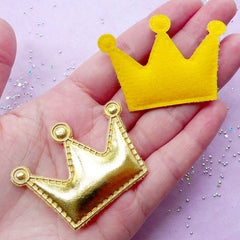 Cute Crown Appliques | Kawaii Baby Hair Bow Making | Sewing Supply (Gold / 4 pcs / 53mm x 38mm)