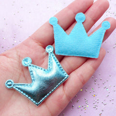 Crown Appliques | Kawaii Hair Bow Making | Baby Shower Decoration (Blue / 4 pcs / 53mm x 38mm)