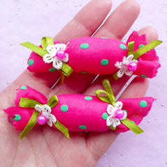2pcs x Pink Glitter Crown Appliques Embellishments Crafts Hair Bow Accessories