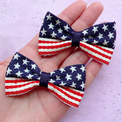 American Flag Bows | USA United States America | Hair Bow Making (2 pcs / 65mm x 35mm)