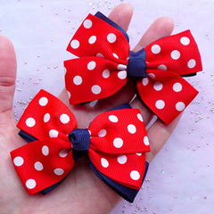 Large Double Bow in Polka Dot Pattern | Baby Hair Barrettes Making | Cute Bow Supplies (2 pcs / Red & Navy Blue / 80mm x 60mm)