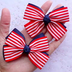 Large Double Bow in Stripe Pattern | US Flag Fabric Bow | American Embellishment (2 pcs / Red & Navy Blue / 80mm x 60mm)