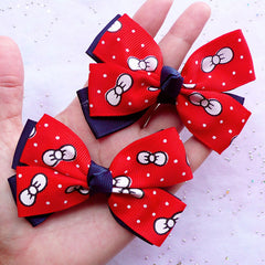 Kawaii Bow Supplies | Large Double Bow | Baby Hair Bow & Accessory Making (2 pcs / Red & Navy Blue / 80mm x 60mm)