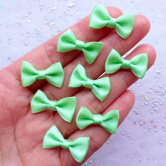 Little Satin Ribbon Bows | Small Fabric Bow | Home Decoration | Wedding Card Making | Packaging & Sewing Supplies (8pcs / 20mm x 12mm / Mint Green)