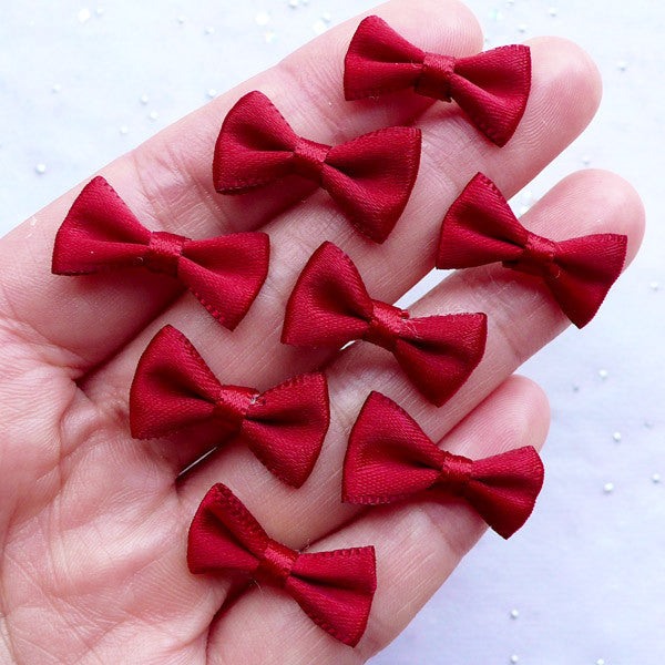 Mini Fabric Bow 20mm Satin Ribbon Bows Gift Decoration