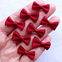 Mini Fabric Bow | 20mm Satin Ribbon Bows | Gift Decoration | Packaging Supply | Scrapbook | Card Making | Hair Accessories DIY (8pcs / 20mm x 12mm / Wine Red)
