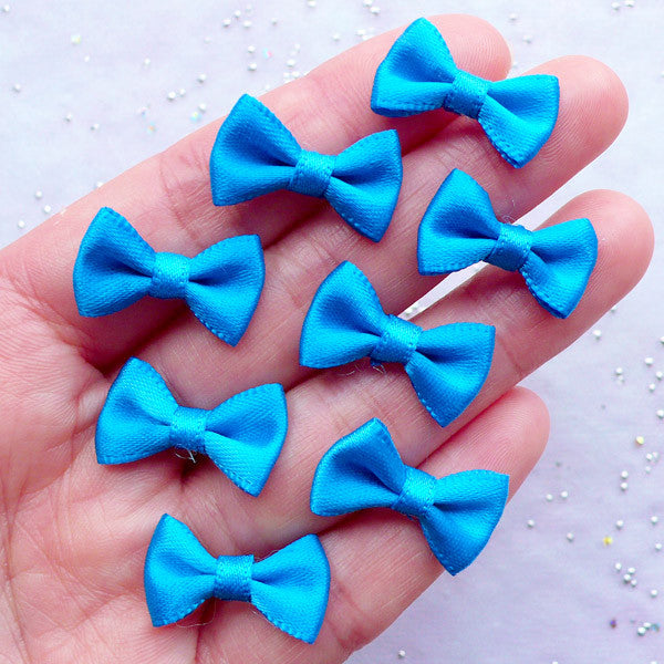 20mm Fabric Bow | Little Satin Ribbon Bows | Scrapbooking Embellishments | Hair Jewellery Making | Mix Media Art | Home Decoration | Sewing Supplies (8pcs / 20mm x 12mm / Electric Blue)