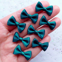 Small Satin Bows in 20mm | Little Fabric Ribbon Bows | Scrapbooking | Card Making | Home Decor | Jewelry Making | Sewing Embellishments (8pcs / 20mm x 12mm / Dark Teal)