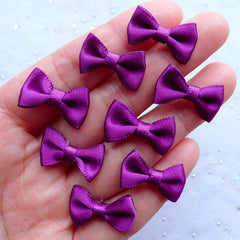 Mini Satin Bows in 20mm | Small Fabric Ribbon Bows | Scrapbook | Card Decoration | Wedding Supplies | Jewellery Making | Gift Embellishments | Sewing Supply (8pcs / 20mm x 12mm / Yahoo Purple)