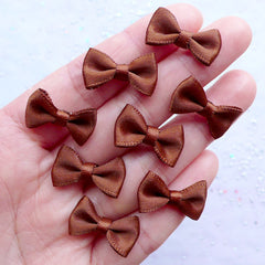 Little Satin Bows in 20mm | Mini Fabric Ribbon Bows | Card Making | Scrapbooking | Wedding Invitations DIY | Gift Decoration | Packaging Supply (8pcs / 20mm x 12mm / Dark Brown)
