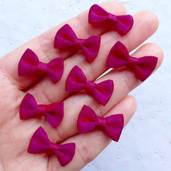 20mm Fabric Ribbon Bows | Satin Bows | Wedding Party Decoration | Favor Embellishments | Home Decor | Product Packaging Supplies | Scrapbooking (8pcs / 20mm x 12mm / Magenta Purple)