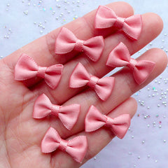 Kawaii Satin Bows in 20mm | Fabric Ribbon Bow Embellishments | Wedding Party Decor | Home Decoration | Card Making | Jewelry DIY | Craft Supplies (8pcs / 20mm x 12mm / Dark Salmon)