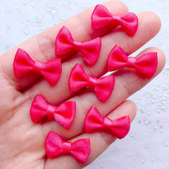 Satin Bow Embellishments | 20mm Fabric Ribbon Bows | Cute Decoration | Kawaii Jewellery DIY | Craft Supplies | Mixed Media Art (8pcs / 20mm x 12mm / Fuschia Pink)