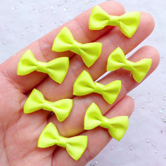 Fabric Bow Embellishments | 20mm Satin Ribbon Bows | Mixed Media Art | Card Making | Scrapbook | Home Decoration | Kawaii Craft Supplies (8pcs / 20mm x 12mm / Neon Yellow)