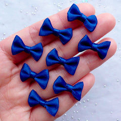 Satin Ribbon Bow Embellishments | 20mm Fabric Bows | Party Invitation Card Making | Home Decor | Scrapbooking Supplies | Favor Decoration | Gift Packaging (8pcs / 20mm x 12mm / Dark Royal Blue)