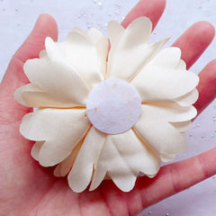 Cream White Satin Flower | Puff Floral Applique | Large Fabric Flower | Baby Hair Bow Making | Bridal Hair Accessories DIY | Wedding Decoration (1 piece / 8cm)