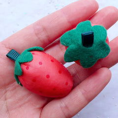 Soft Fabric Strawberry in 3D | Fabric Fruit Applique | Kawaii Bag Charm & Planner Charm Making | Toddler Hair Accessories DIY | Cute Craft Supplies (2pcs / 25mm x 40mm)