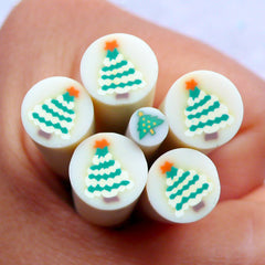 Christmas Polymer Clay Cane | Christmas Tree Fimo Canes | Holiday Embellishments | Card Decoration | Christmas Party Decor | Scrapbooking | Filling for Resin Art (LARGE/BIG)