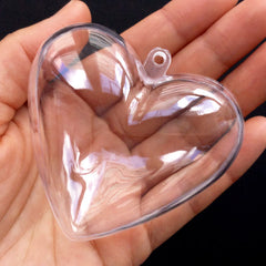 Heart Clear Plastic Storage Case with Loop | Wedding Gift Box | Small Candy Container | Christmas Ornament Making | Party Favor Packaging (1 piece / Transparent / 65mm x 62mm)