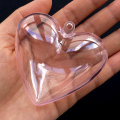 Clear Heart Case | Plastic Gift Box with Loop | Wedding Decoration | Christmas Ornament DIY | Small Container for Candy | Product Packing (1 piece / Transparent Pink / 65mm x 62mm)