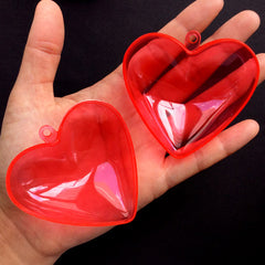 Heart Gift Box | Plastic Favor Box with Loop | Candy Storage Case | Wedding Party Supplies | Christmas Ornament (1 piece / Transparent Red / 65mm x 62mm)