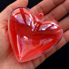 Favor Box in Heart Shape | Candy Case with Loop | Plastic Gift Box | Wedding Supplies | Christmas Ornament (1 piece / Red & Clear / 65mm x 62mm)