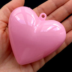 Wedding Favor Box with Loop | Heart Shaped Storage Case | Plastic Candy Gift Box | Packaging Supplies (1 piece / Pink / 65mm x 62mm)