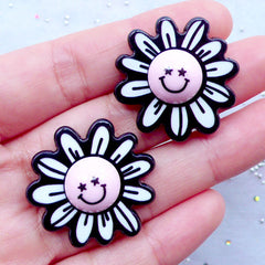 Happy Flower Acrylic Cabochons | Harajuku Decora Jewelry Making | Decoden Supplies | Kawaii Phone Case Decoration (2pcs / 30mm x 30mm / Flat Back)
