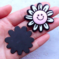Kawaii Flower Cabochons with Happy Face | Acrylic Decoden Pieces | Harajuku Kei | Decora Kei | Phone Case Deco (2pcs / 42mm x 43mm / Flat Back)