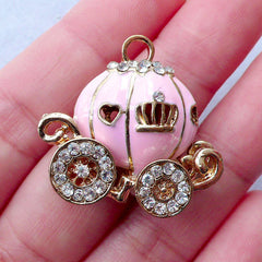 Small Cinderella Carriage Cabochon | Pumpkin Carriage Charm | Metal Embellishment | Bling Bling Decoden Supplies (Baby Pink, Gold with Clear Rhinestones / 29mm x 28mm)