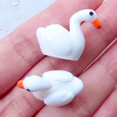 3D White Swan Cabochons | Miniature Animal | Fairy Garden Supplies | Bonsai Figurines | Resin Decoden Pieces | Kitsch Jewelry (2pcs / 23mm x 20mm)