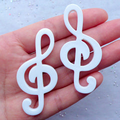 CLEARANCE Big Treble Clef Cabochons | Music Note Embellishment | G Clef Flatback | Musical Decoden | Phone Case Decoration (2 pcs / White / 26mm x 57mm / Flat Back)