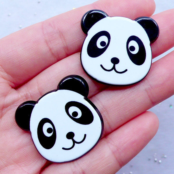 CLEARANCE Acrylic Panda Cabochons | Kawaii Decoden Supplies | Animal Hair Bow Making | Harajuku Decora Style | Scrapbooking (2pcs / 28mm x 26mm / Flat Back)
