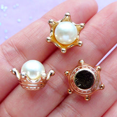 3D Crown Setting with Pearl | Kawaii Cap for Fairy Bottle | Hair Bow Center | Decoden Cabochon Supplies (6pcs / 15mm x 10mm)