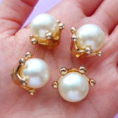 3D Crown and Pearl Embellishments | Kawaii Princess Jewelry Supplies | Crown Cap for Mini Perfume Bottle (4pcs / 21mm x 17mm)