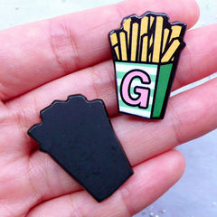 French Fries Acrylic Cabochons | Kawaii Cabochon | Decora Decoden | Harajuku Accessory Making | Card Making (2pcs / 21mm x 30mm / Flat Back)