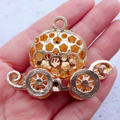 Cinderella Pumpkin Carriage Metal Cabochon (Baby Pink, Gold w/ Clear Rhinestones) (41mm x 52mm) Cell Phone Deco Jewelry Making Decoden CAB113
