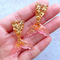 Mermaid Tail Cabochons in Dual Color | Kawaii Decoden Cabochon with Glitter | Cell Phone Deco | Fairytale Resin Pieces (2pcs / Gold & Pink / 31mm x 44mm / Flatback)