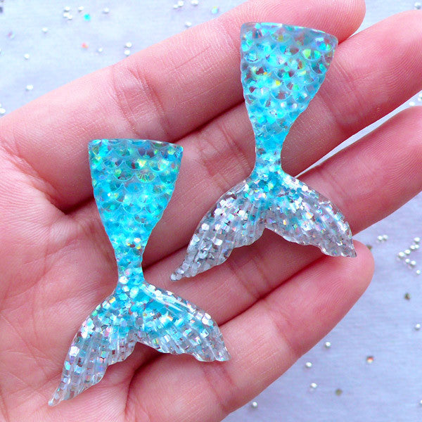 Kawaii Mermaid Cabochons in Dual Color | Fish Tail Cabochon with Glitter | Cell Phone Decoden | Fairy Tale Jewelry Making (2pcs / Blue & Silver / 31mm x 44mm / Flatback)