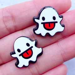 Kawaii Ghost Acrylic Cabochons | Halloween Embellishments | Creepy Cute Decoden | Cell Phone Deco | Lapin Pin DIY (2pcs / 19mm x 18mm / Flatback)