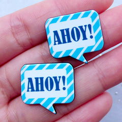 Ahoy Speech Bubble Cabochons | Nautical Acrylic Cabochon | Decoden Pieces | Card Making | Clutch Pin Making (2pcs / 22mm x 21mm / Blue / Flat Back)