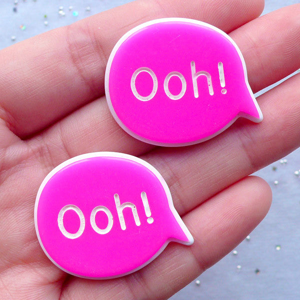Ooh Cabochons | Word Cabochon | Bubble Speech Embellishment | Message Resin Pieces | Decoden Phone Case | Scrapbooking (2 pcs / Dark Pink / 32mm x 26mm / Flat Back)